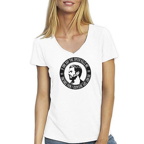 Friendly Bees Fast & Furious Paul Walker T-Shirt Camiseta Cuello V para la Mujer