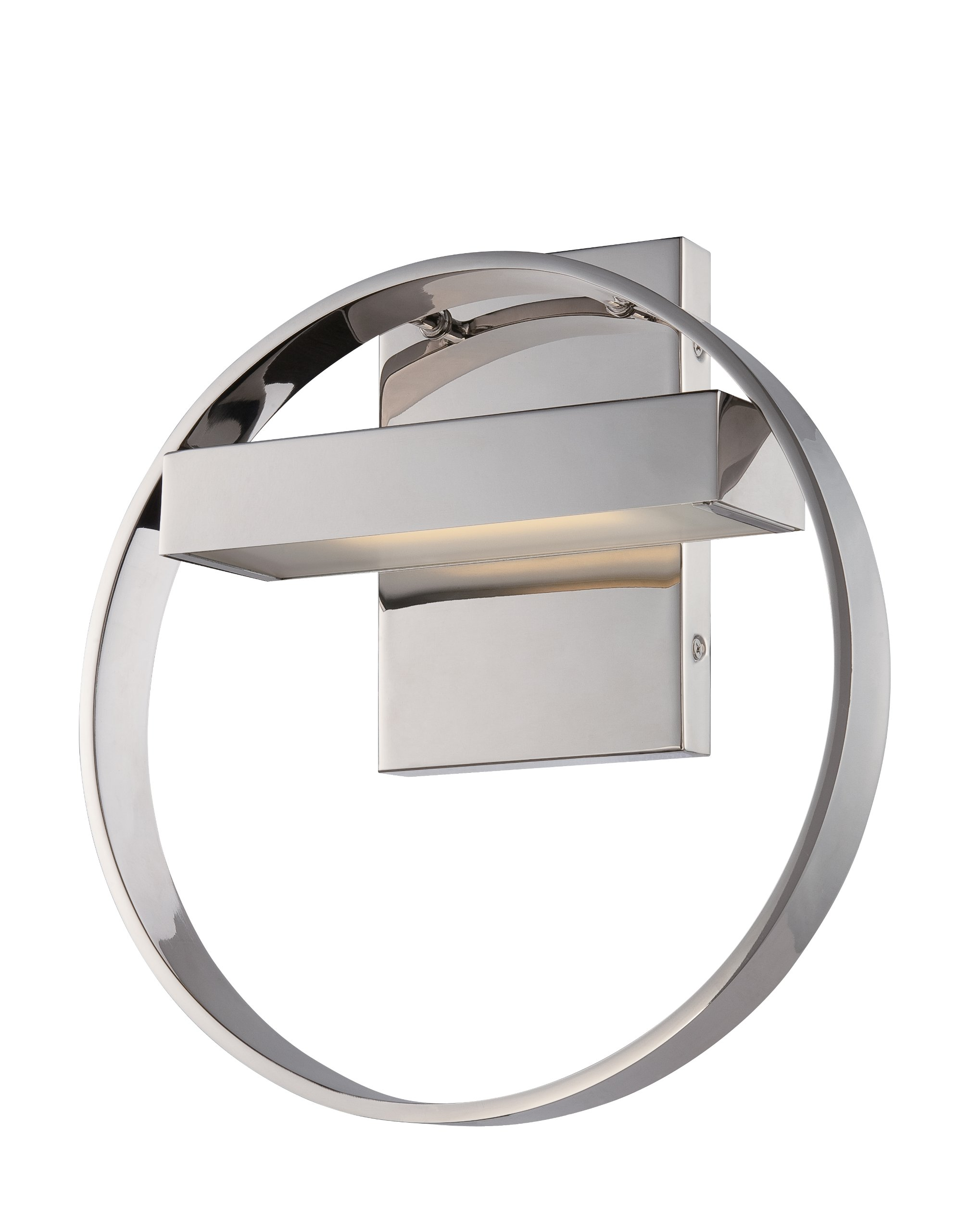 Nuvo Lighting 62/181 Cirque LED One Light Wall Sconce 4.8 Watt 285 Lumens Soft White 2700K KolourOne LED Technology Frosted Glass Polished Nickel Fixture