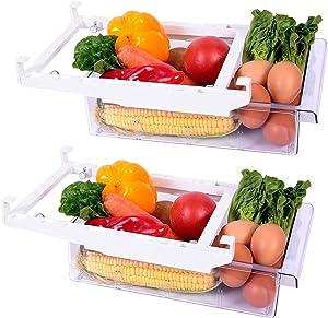 Guanniao Fridge Organizer Fridge Drawer Pull-out Fridge Drawer Organizer,Transparent Storage Box for Food Refrigerator Storage Room, Organizer Storage Food Boxes, Fruits, etc (17.3inch-2Organizer)