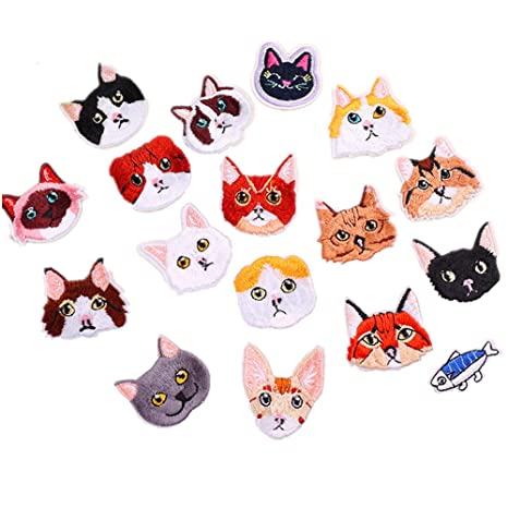 17pcs Assorted Cute Kitten Mini gatos y delicioso pescado Sew hierro en parches bordados parches apliques