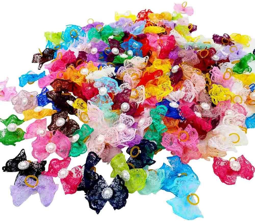 mit elastischem Gummiband 30 Paar//60 St/ück JpGdn Haarschleifen f/ür kleine und mittelgro/ße Hunde und Katzen