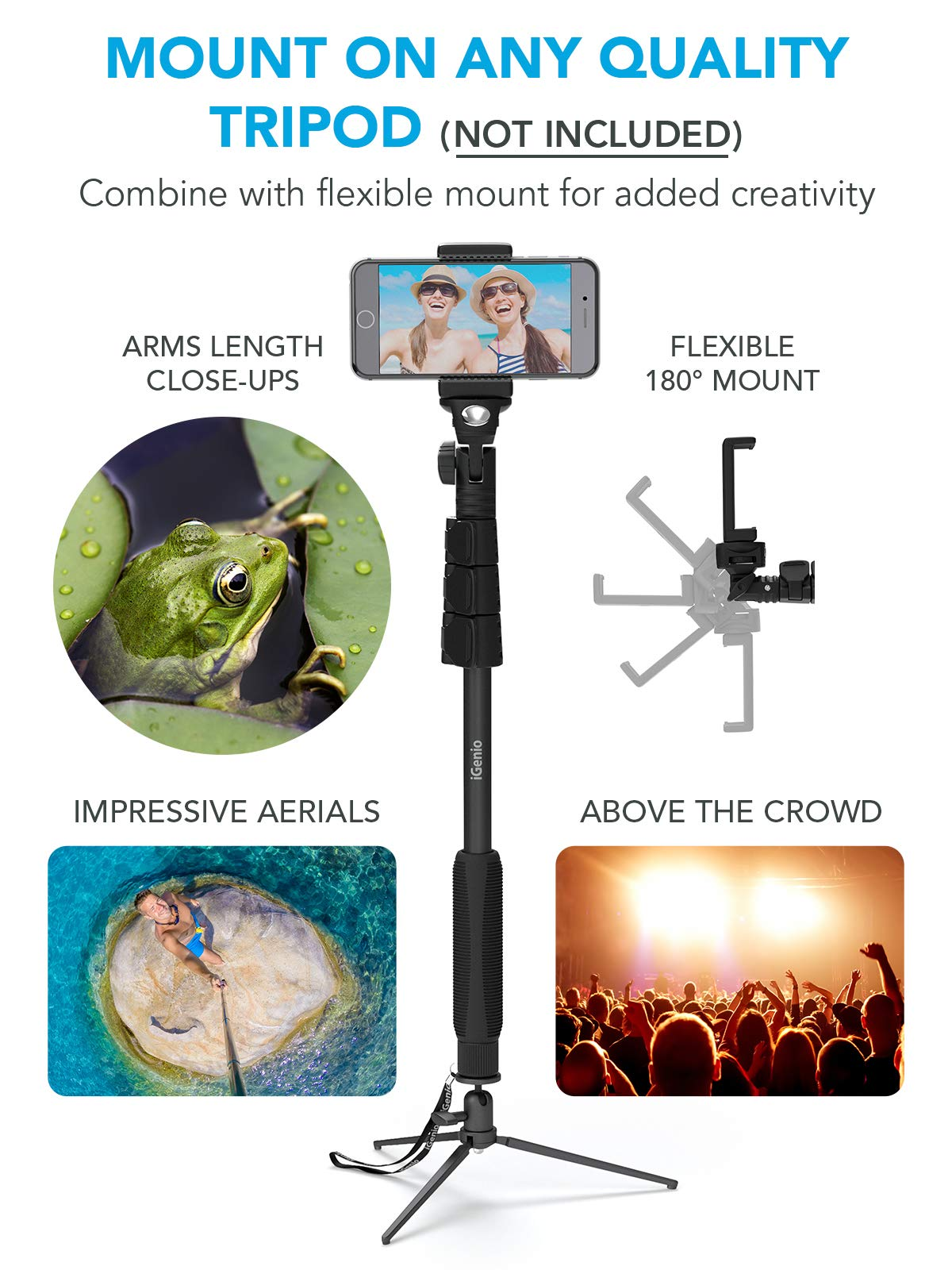 Professional 10-in-1 Monopod Selfie Stick for All GoPro Hero, Action Cameras, Cellphones, Digital Compacts with Bluetooth Remote Shutter - Extends 15''- 47'', Weatherproof Shockproof - Take It Anywhere by Selfie World (Image #6)