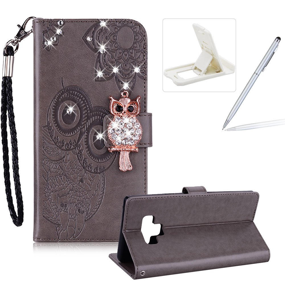 Strap Leather Case for Samsung Galaxy Note 9, Diamond Brown Wallet Flip Case for Samsung Galaxy Note 9, Herzzer Stylish 3D Owl Magnetic Closure Cute Owl Printed Stand Shockproof Card Slots Folio PU Leather Back Case with Soft Silicone