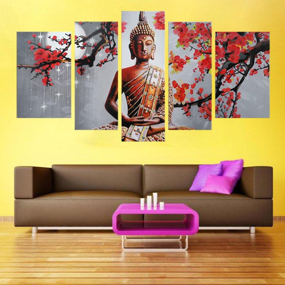Amazon.com: LKY ART Wall Art 5 Panel Budhha Portrait Wall Decor Oil ...