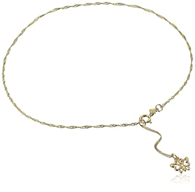 gold elephant diamonds bare star anklet lab for dp women beach yellow wear foot