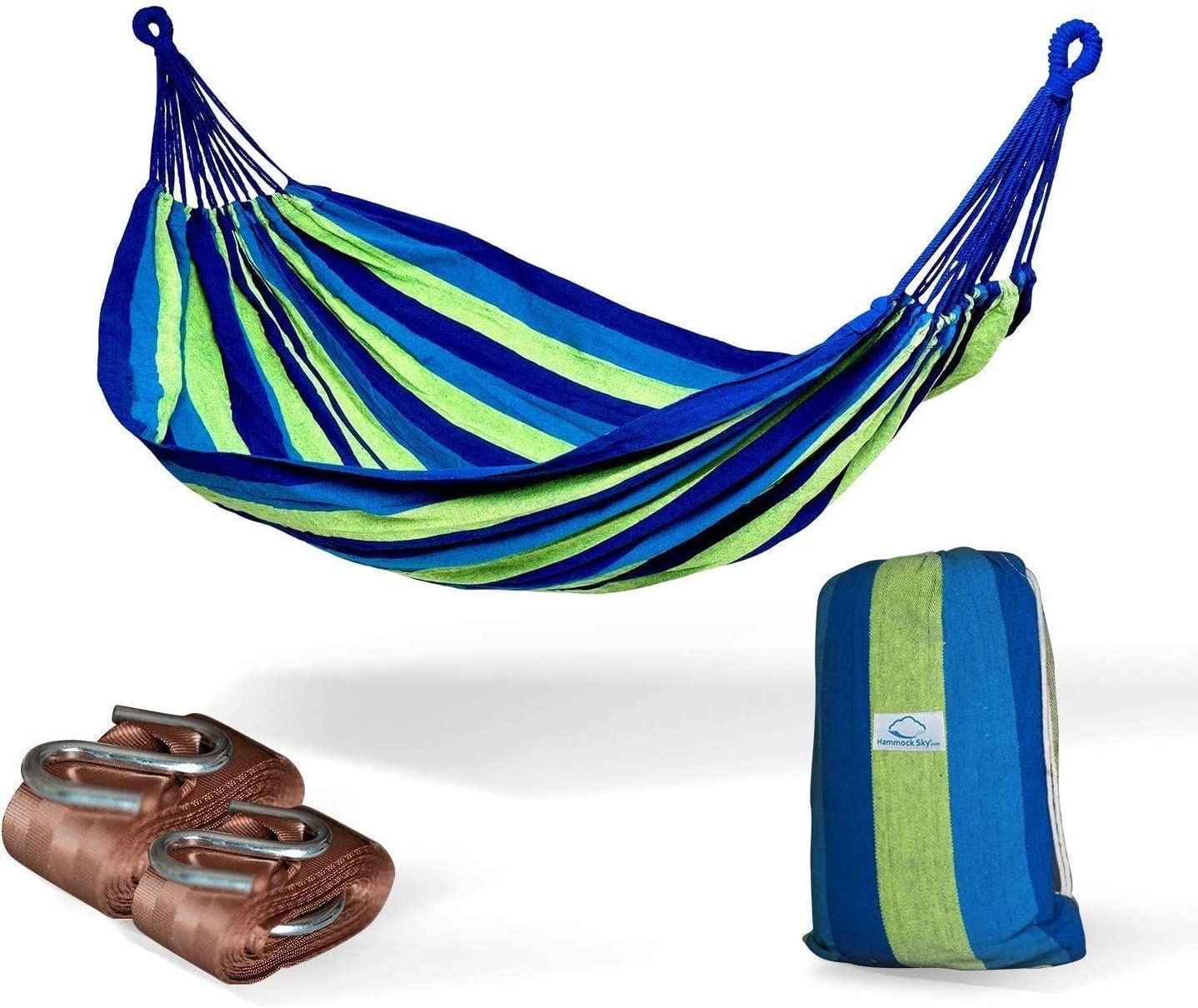 Hammock Sky Brazilian Double Hammock (Blue and Green Stripes) with Tree Straps (Brown) - Two Person Hammock with Best Extra Long Hanging Straps 2 Pack