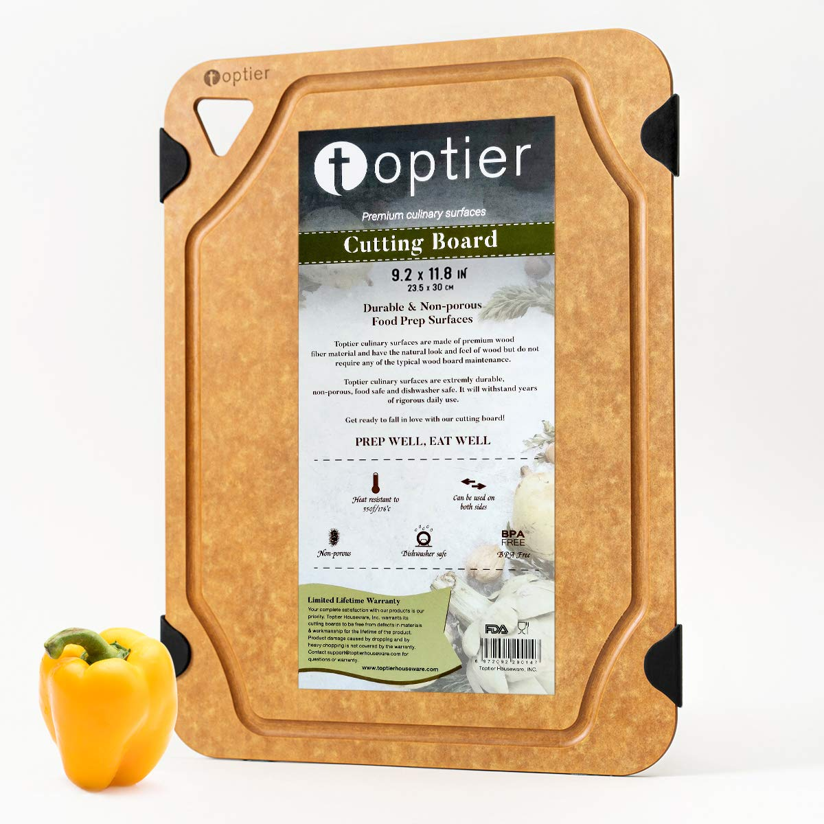Cutting Board for Kitchen Dishwasher Safe, TOPTIER Wood Fiber Cutting Board, Eco-Friendly, Non-Slip, Juice Grooves, Non-Porous, BPA Free, Small Cutting Board, 11.5 x 9.25-inch, Natural Slate
