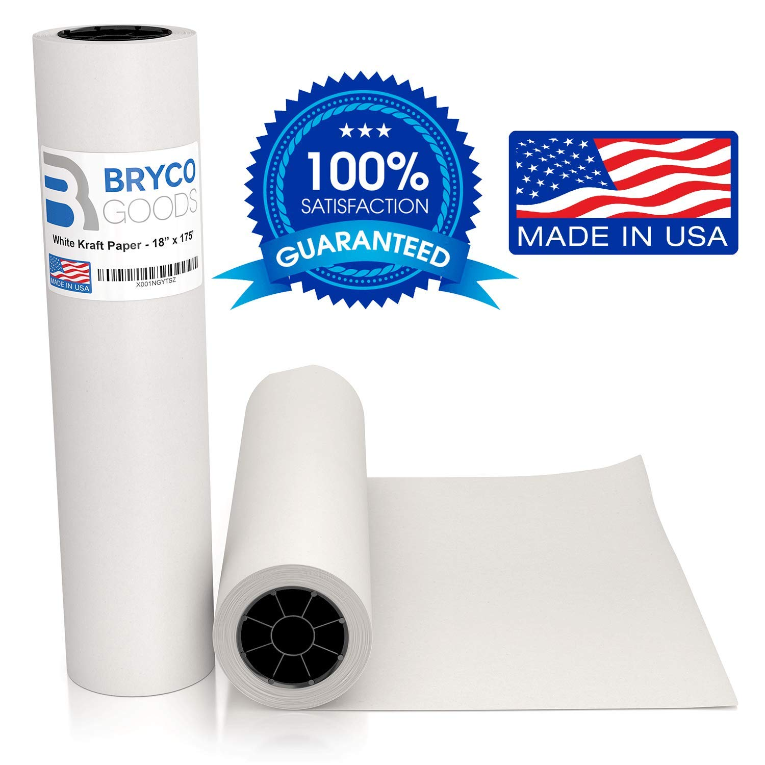 White Kraft Arts and Crafts Paper Roll - 18 inches by 175 Feet (2100 Inch) - Ideal for Paints, Wall Art, Easel Paper, Fadeless Bulletin Board Paper, Gift Wrapping Paper and Kids Crafts - Made in USA by Bryco Goods