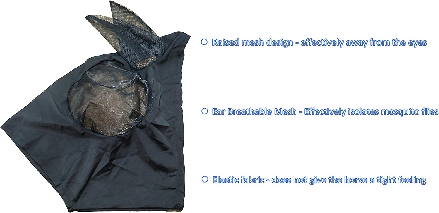 Horse Fly Mask Face Mask with Mesh Eyes Ears Extra Comfort Lycra Equine Avoid UV for Pony//Cob//Arab
