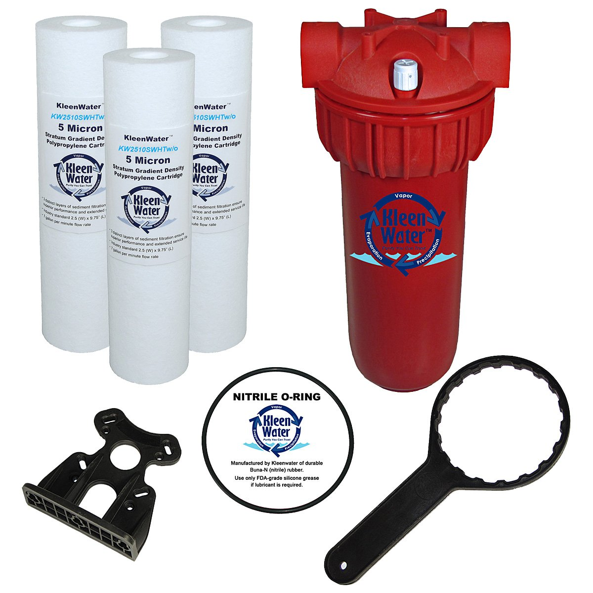 KleenWater Hot Water Filter (1), Mounting Bracket (1), 5 Micron High Temp Cartridges (3), Spare Oring (1), Filter Wrench (1)