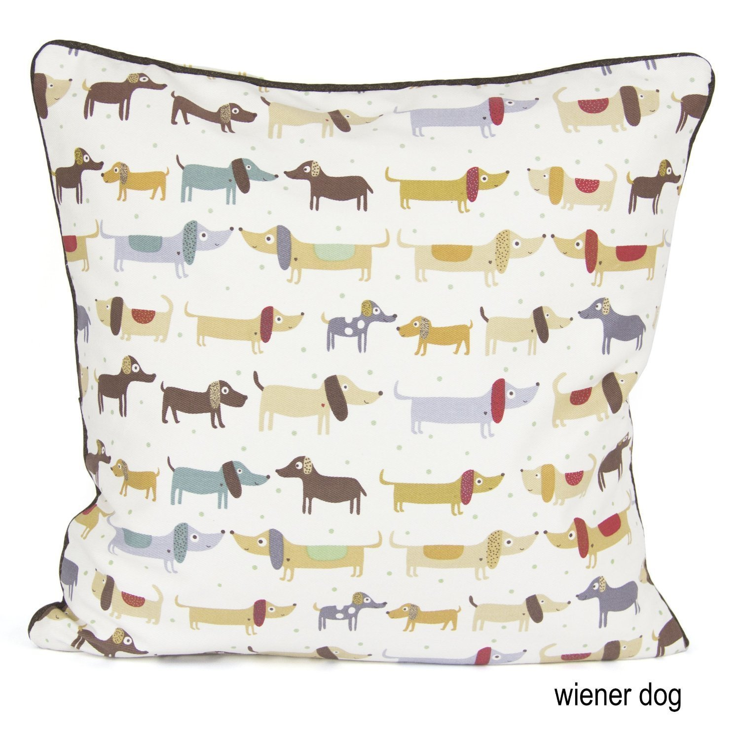 100% Cotton's Brand Designer's Inspired Luxury Cushion Cover Design Wiener Dog Size 18