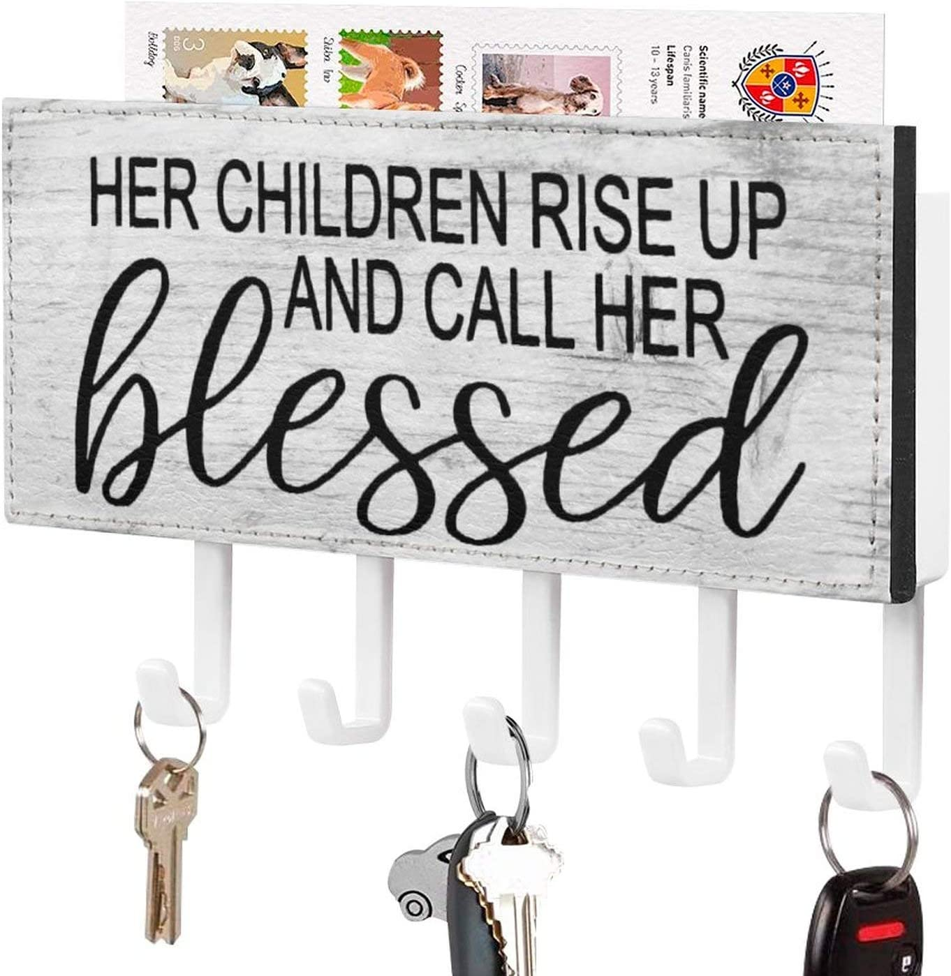 Her Children Rise Up and Call Her Blessed Key Holder for Wall,Mother's Day Gift Mail Holder and Key Rack for Entryway, Farmhouse Home Decor Key Hooks, Rustic Key Hangers with 5 Hooks