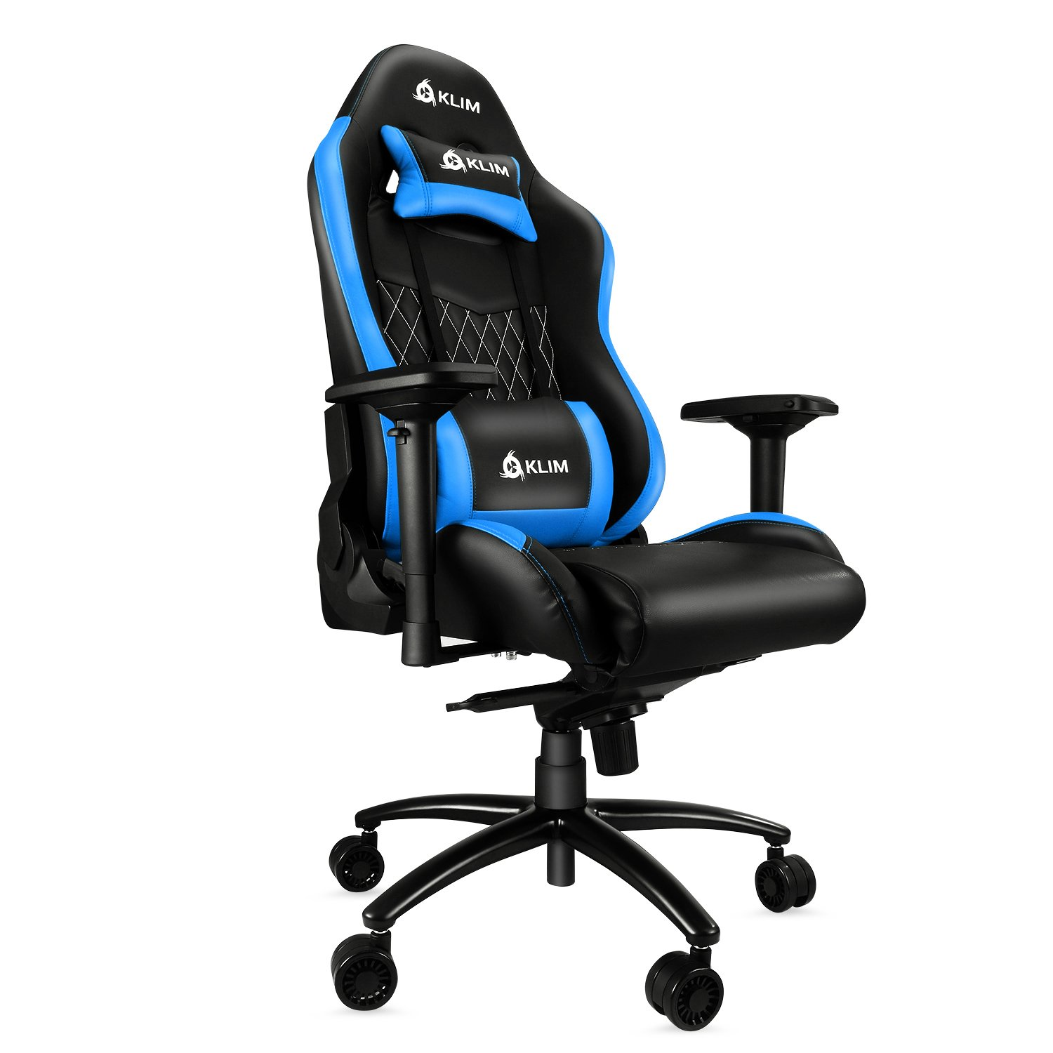 KLIM Esports Gaming Chair Executive Ergonomic Racing Computer Chair – Back Head Support – New – Adjustable Armrest – Desk Office Recliner – Silla Gamer – Black Blue Cushion