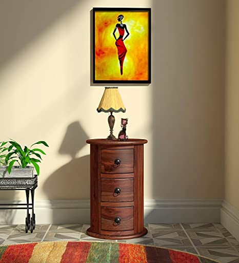 Credenza Rich Walnut Solid Wooden Dressers and Chests of Drawers for Bedroom Round Shape - 3 Drawers and Storage
