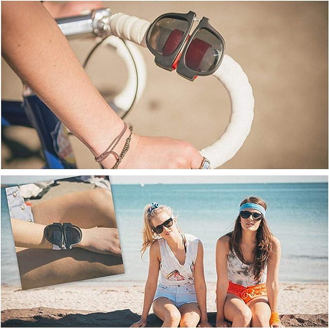 JEEZAO Lunettes de Soleil de Plage Polarisées pour Homme et Femmes,100% anti UV400, Bracelet de Mode