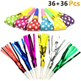 LoveS 72pcs 2 Kinds of Musical Blow Outs Glitter Fringed Metallic Noisemaker Blowouts Whistles for Party