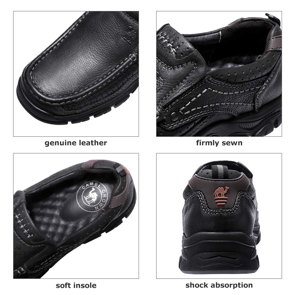 CAMEL CROWN Mens Loafers SlipOn Loafer Leather Casual Walking Shoes Comfortable for Work Office