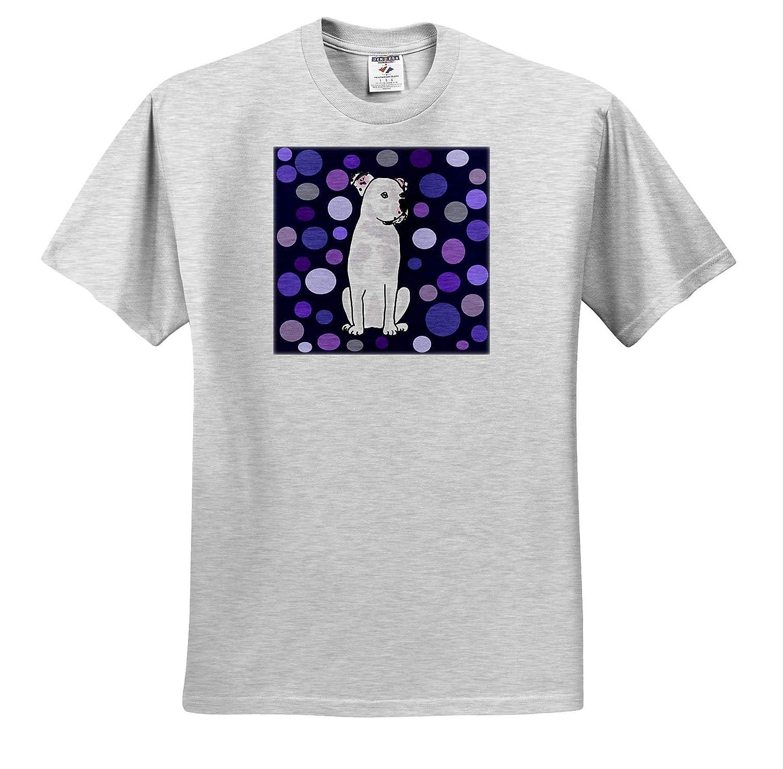 Pets Funny Cute White American Bulldog Circle Pattern Abstract Art 3dRose All Smiles Art T-Shirts