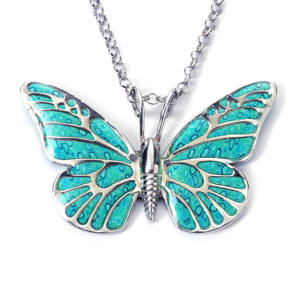 925 Sterling Silver Butterfly Necklace Pendant Sea Green Polymer Clay Handmade Jewelry, 16.5'' Chain