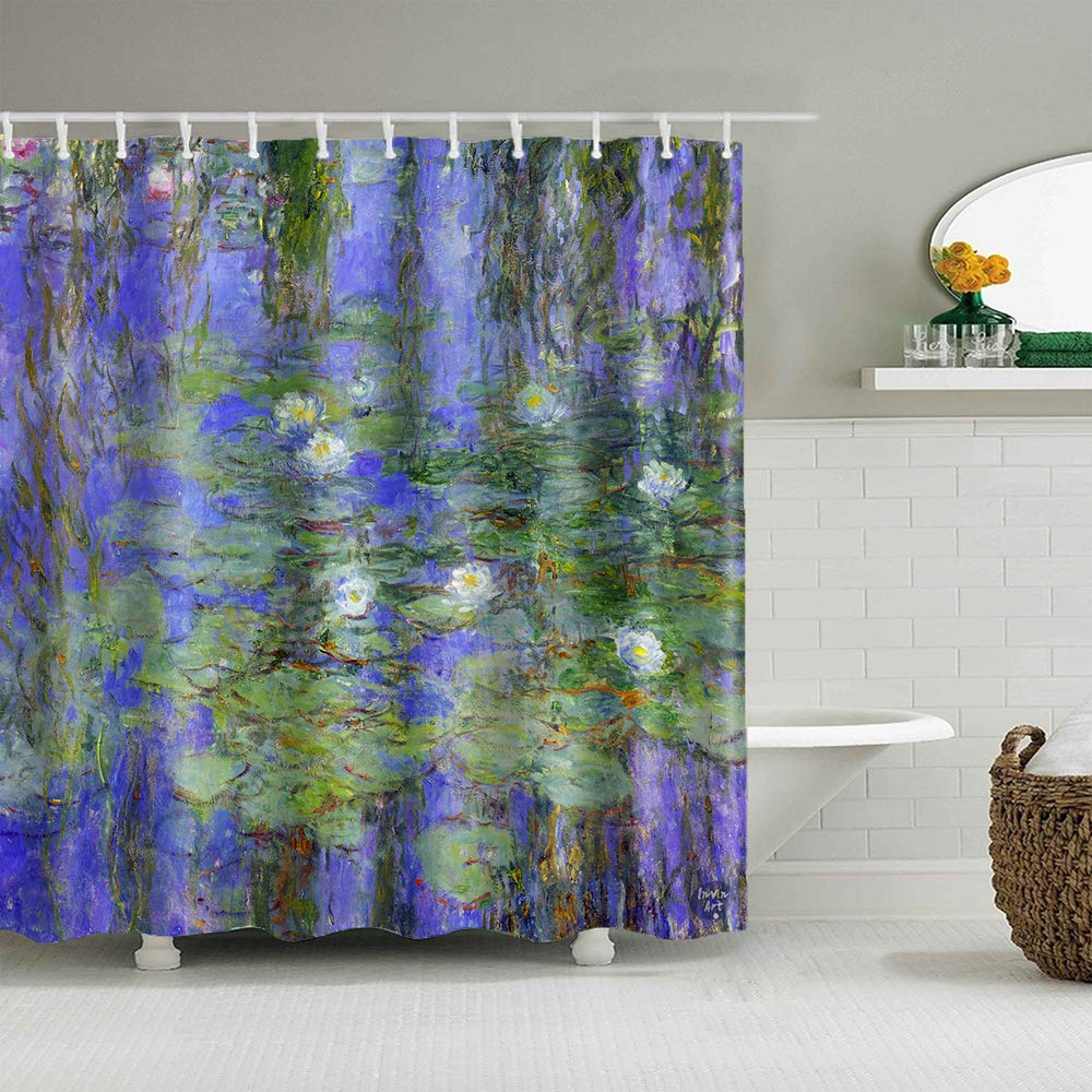 Bathroom Shower Curtain Set with Hooks,Blue Water-Lilies,1916-1919 by Claude Monet,Home Art Paintings Pictures for Bathroom