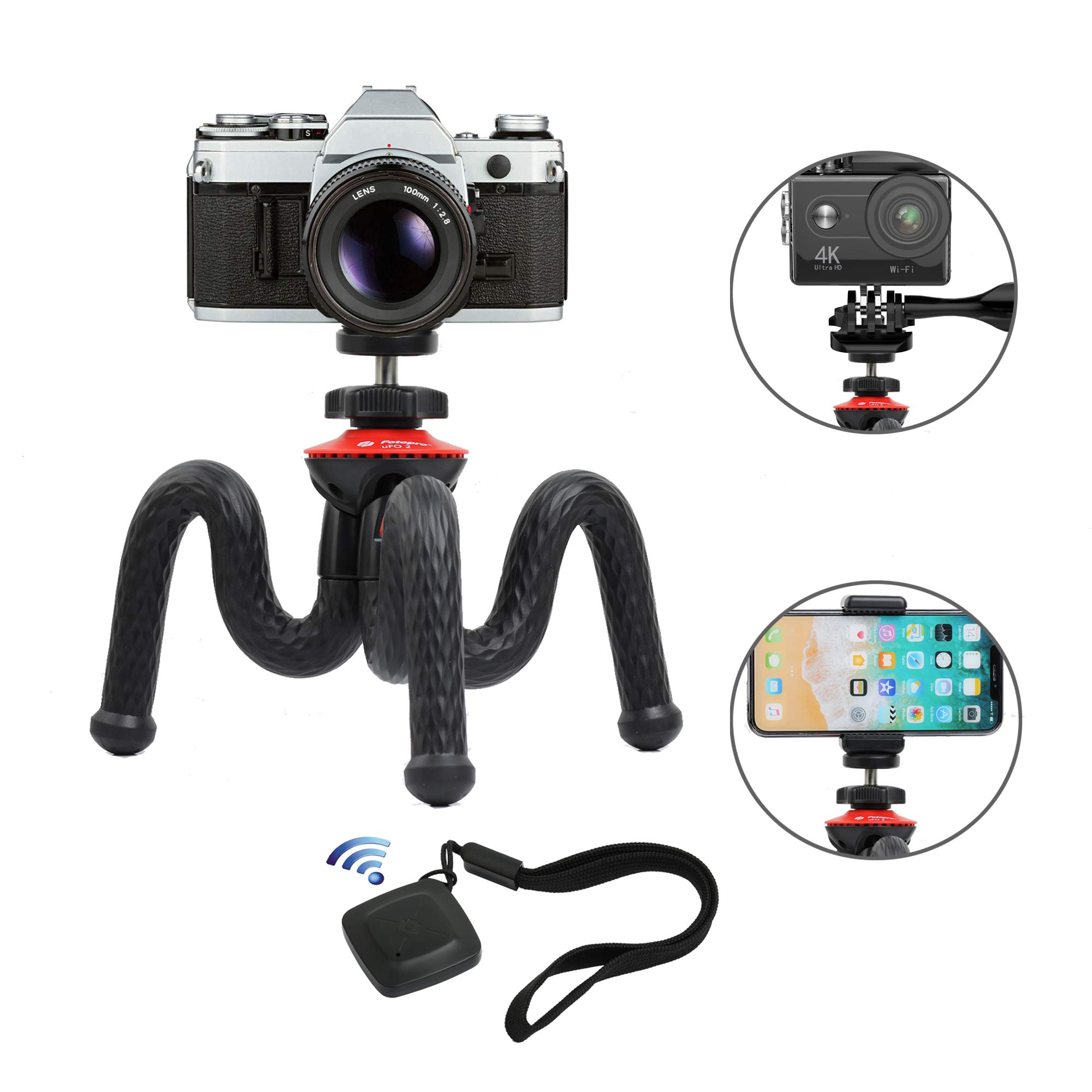 Flexible Tripod, Vomercy Travel Tripod Stand with Bluetooth Remote, 360 Degree Spherical Camera Time-Lapse Photography, Compatible with Mini Camera, GoPro and Any Mobile Phone