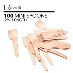 """WoodU Wooden Miniature Spoons 2-3/4"""" Disposable Square End (Pack of 100) Perfect for Crafts, Organic Sugar Scrubs, Tasting and Sampling"""