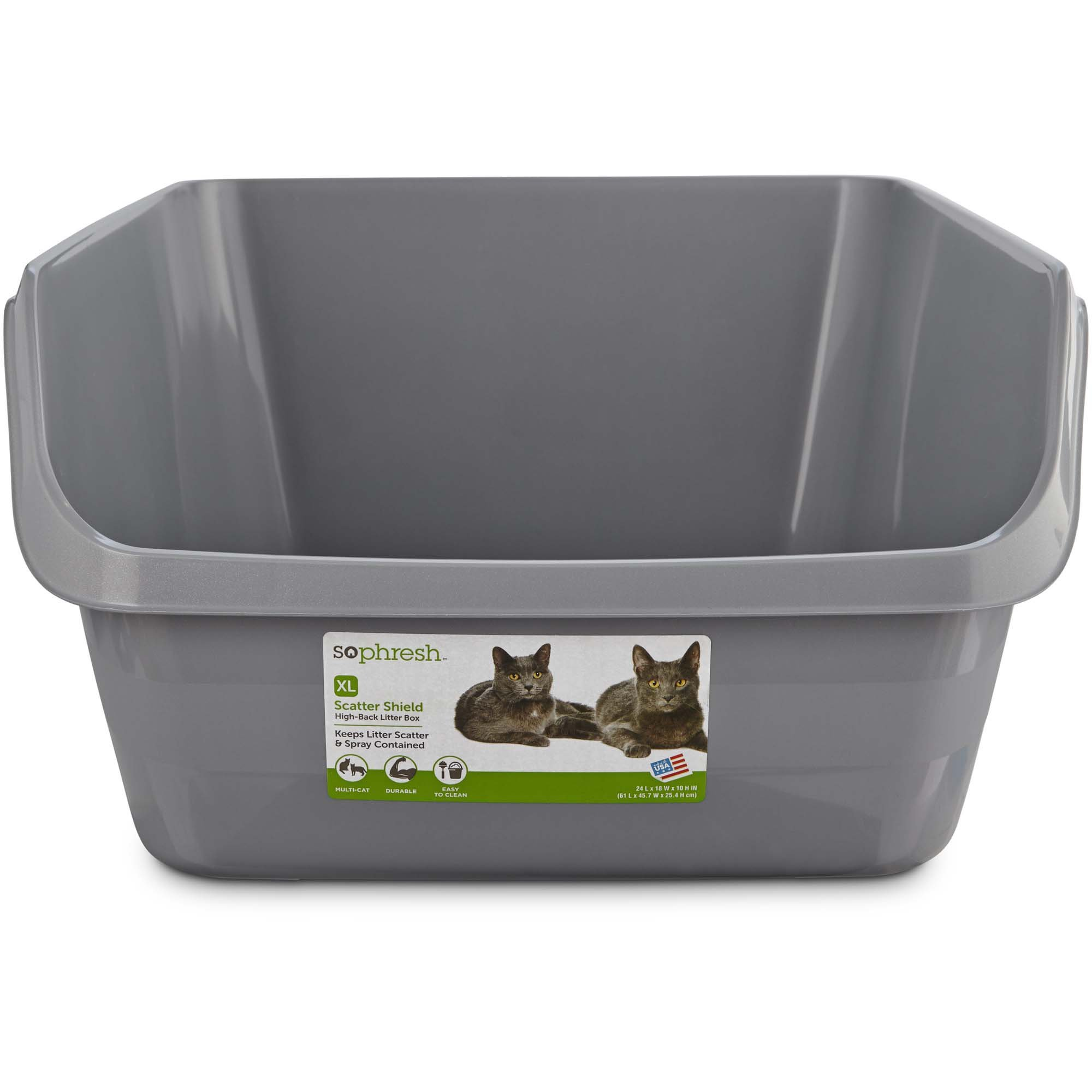 So Phresh Scatter Shield High-Back Litter Box in Gray, 24'' L X 18'' W X 10'' H, Jumbo