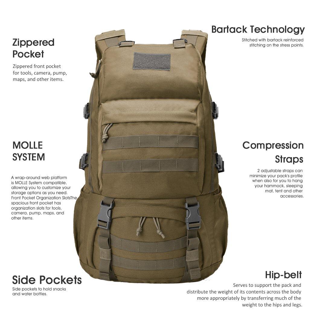 Multifunzione Grande capacit/à Mardingtop 40L//50L//60L Zaino Tattico Militare Molle Zaini da Hiking Zaino di Assalto Campeggio Escursionismo Patrol