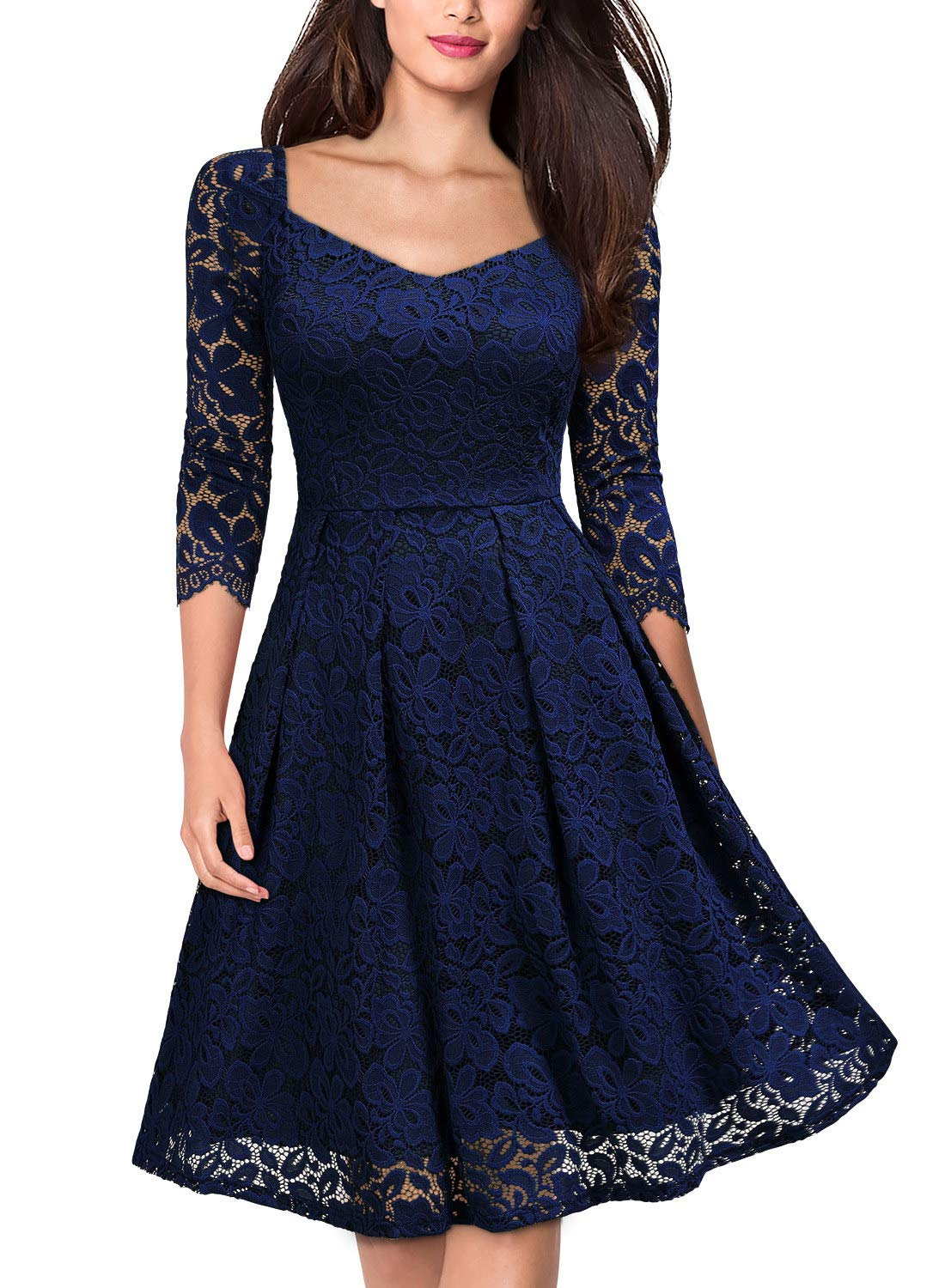 eb5a379150a6 MISSMAY Women's Vintage Floral Lace Half Sleeve V Neck Cocktail Formal Swing  Dress