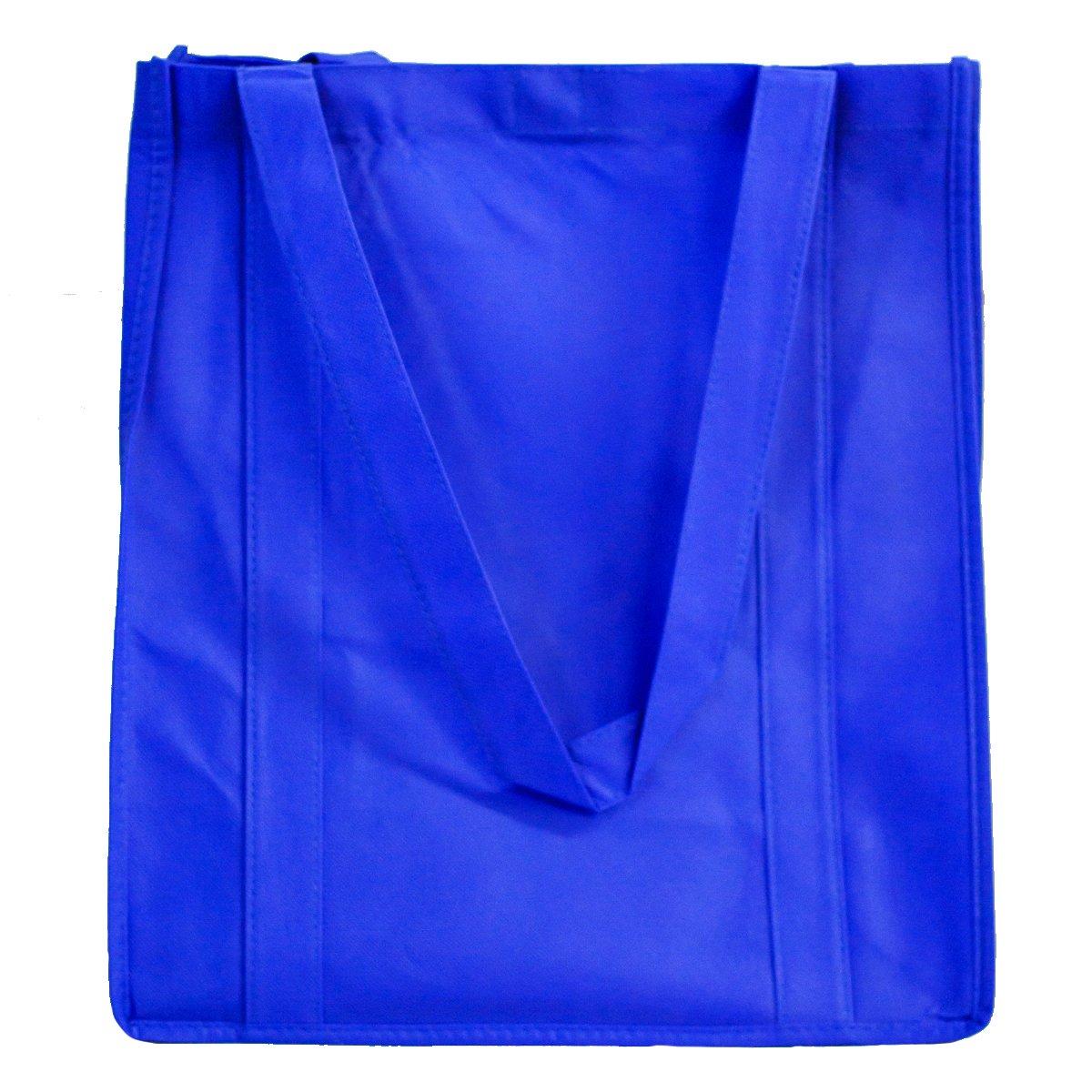 再利用可能な食料品バッグ(5パック) – Hold 30 + lbs – Extra Large &超強力なショッピングバッグ、頑丈 – Velcro Closureトートバッグwith強化ハンドル厚いプラスチック下部の強度 ブルー B01MTP5VEH ロイヤル ロイヤル