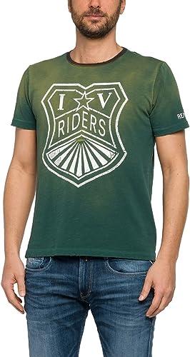 REPLAY Camiseta DESTEÑIDA con Estampado (L): Amazon ...
