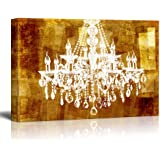 """wall26 Canvas Wll Art - Crystal Chandelier on Vintage Golden Background - Giclee Print and Stretched Ready to Hang - 12""""x18"""""""