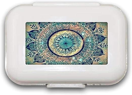 Sunok Pastillero Mandala para Pastillas, Organizador de Pastillas, Cajas Decorativas, Pastillero para Bolsillo o Bolso – 8 Compartimentos Pastillero/Pastillero: Amazon.es: Hogar