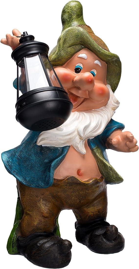 Personaje, Enano, Enano de jardín de duendes con lámpara Solar NF11064, grande 36 cm de alto, jardín, decoración de enanos, duendes con LED lámpara Solar, atractiva y motivo de trabajo, figura decorativa