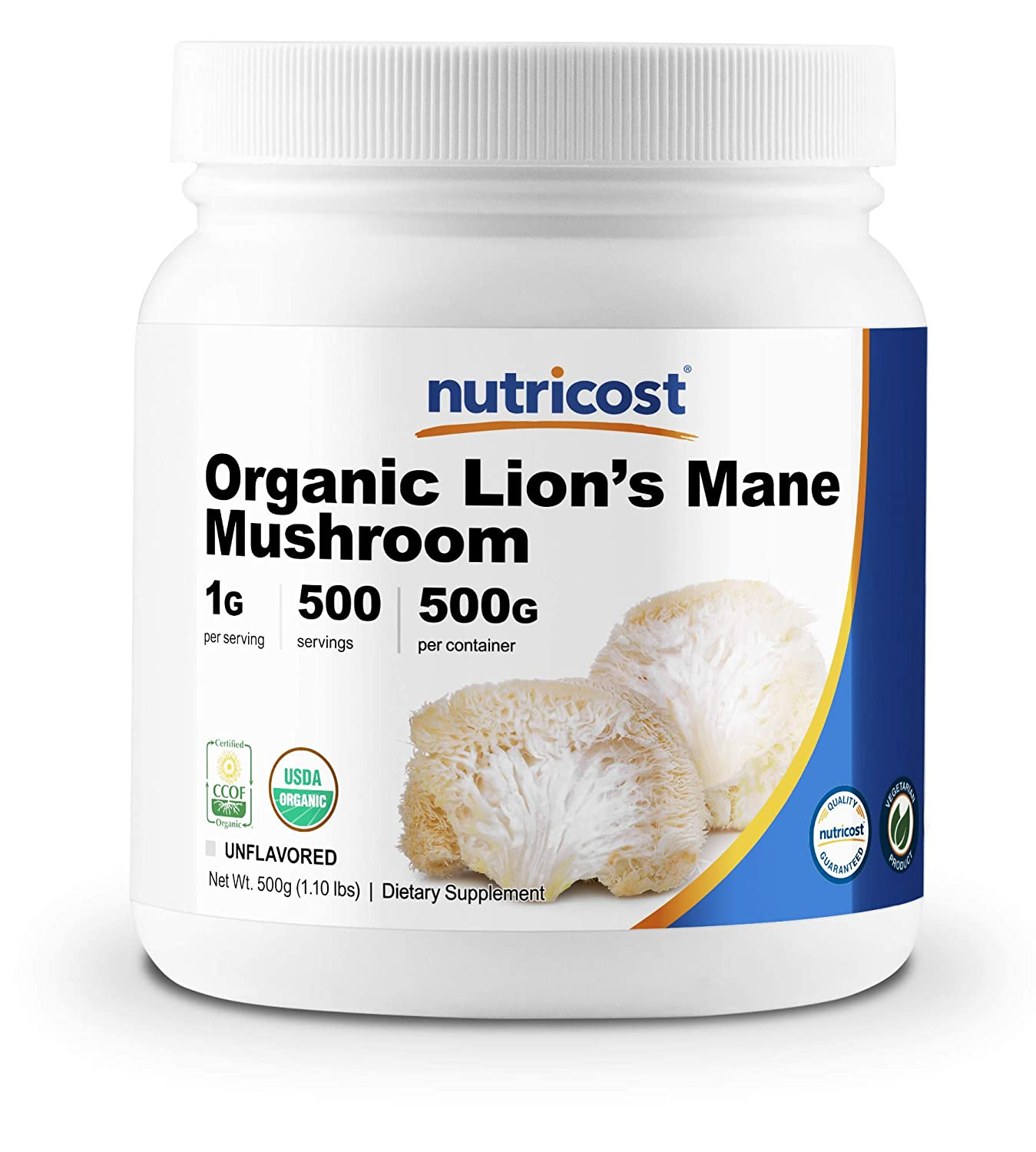 Nutricost Organic Lion s Mane Mushroom Powder 500 Grams – Certified USDA Organic