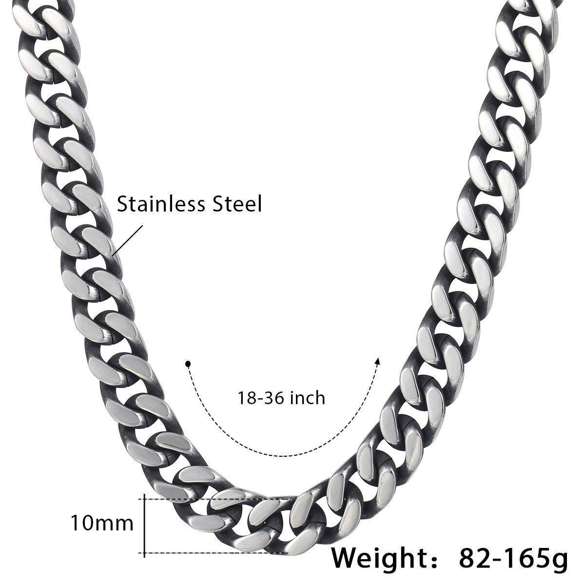 HAMANY Stainless Steel Necklace Link Chain Silver Tone with a Velvet Bag