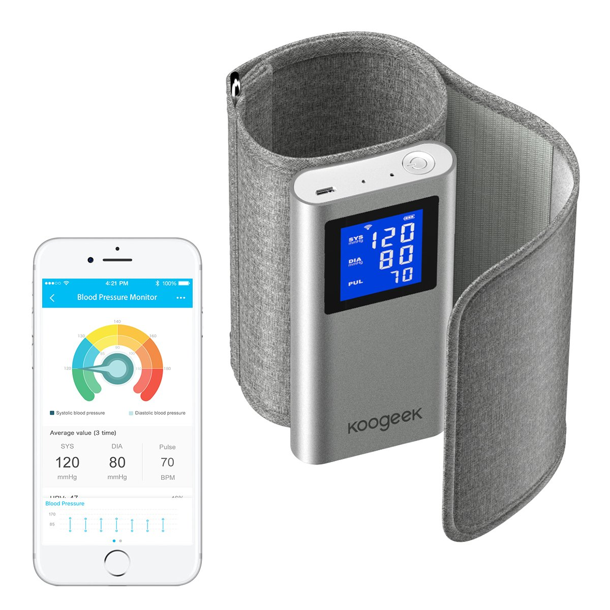 Amazon.com: Smart Blood Pressure Monitor, Koogeek FDA Approved with Heart Rate Detection Upper Arm for iOS and Android Devices Dual Wireless Connectivity ...