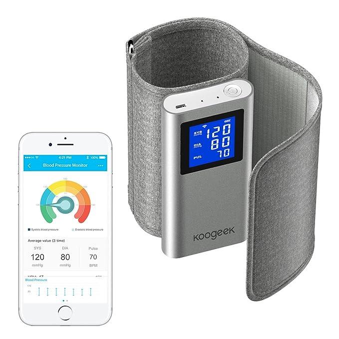 Koogeek Tensiómetro de Brazo Bluetooth Wifi Monitor de Presión Arterial Medir la Frecuencia Cardíaca FDA Certificado con Gran LCD Pantalla Recargable ...