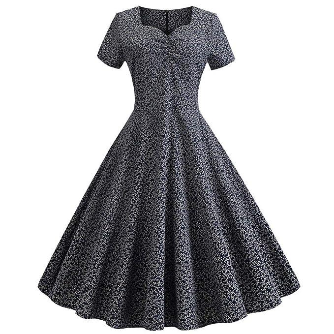0718e04741a 1950s Dresses for Women Vintage Rockabilly Cocktail Party Square Neck  Floral Swing Dress Plus Size (