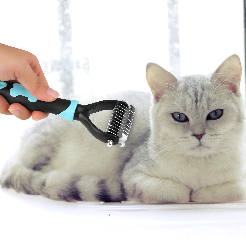 pecute mascota Cuidado dematting peine cepillo Perros depilatoria doble cara (Azul/Rosa)
