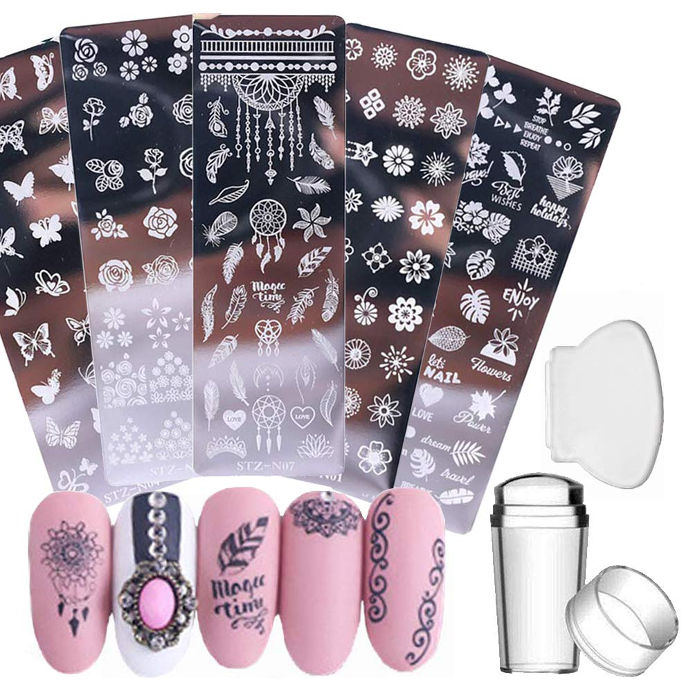 Nail Stamp Plates Set 5 Pcs Nail Stamping Plates + 1 Stamper + 1 Scraper Butterfly Flower Feather Stainless Steel Nail Plate Template Image Plate DIY Nail Image Polish Template Kit