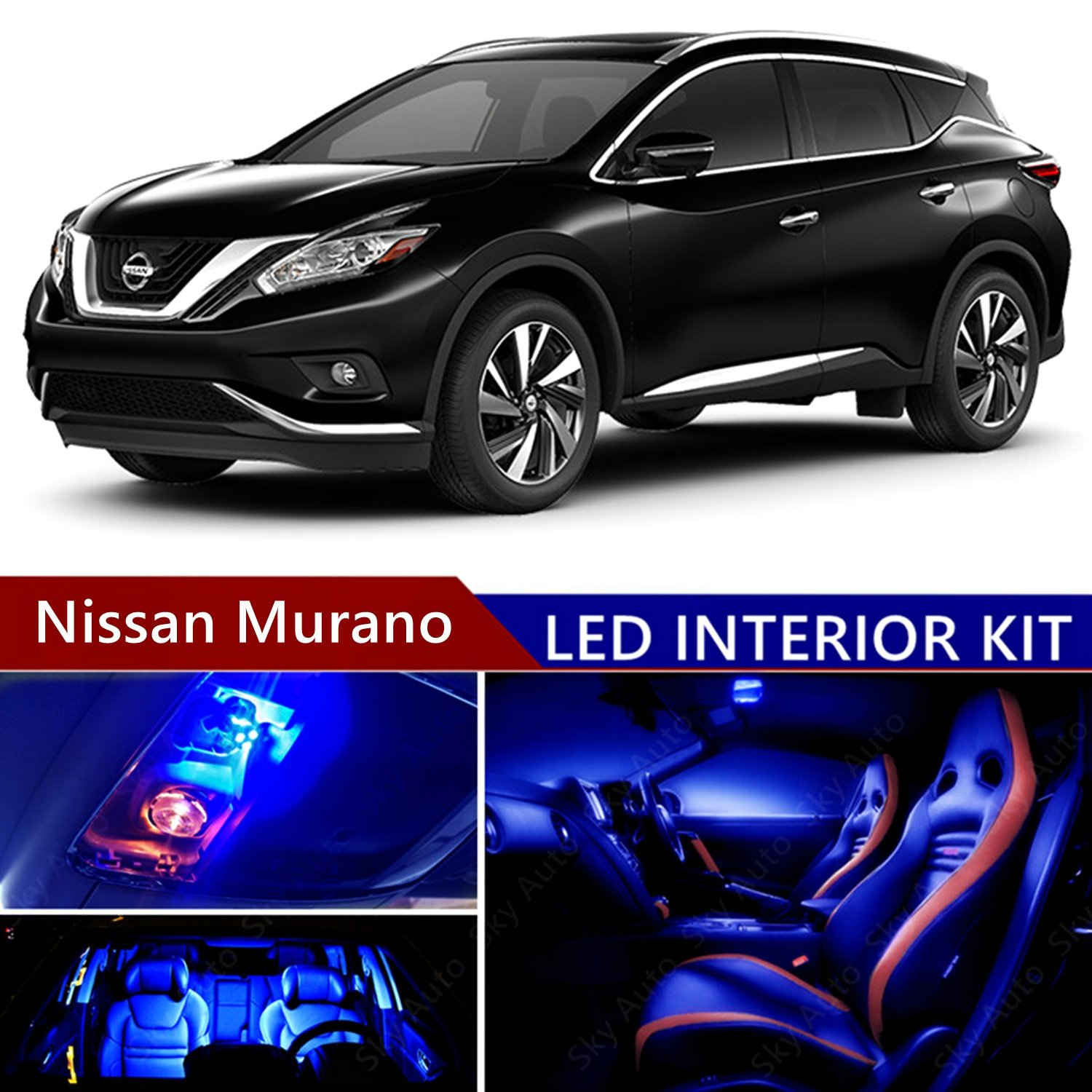 Amazon.com: Nissan Murano 2009-2017 LED Premium Blue Light Interior Package  Kit ( 16 pcs ): Automotive