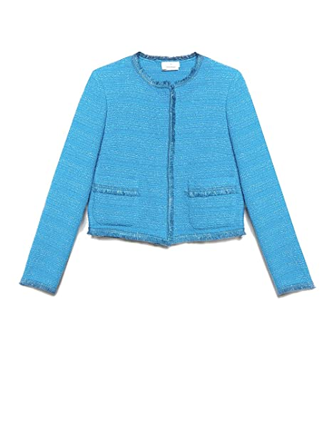 quality design 8a375 0fc43 Motivi : Giacca Corta in Tweed Blu 36 (Italian Size): Amazon ...