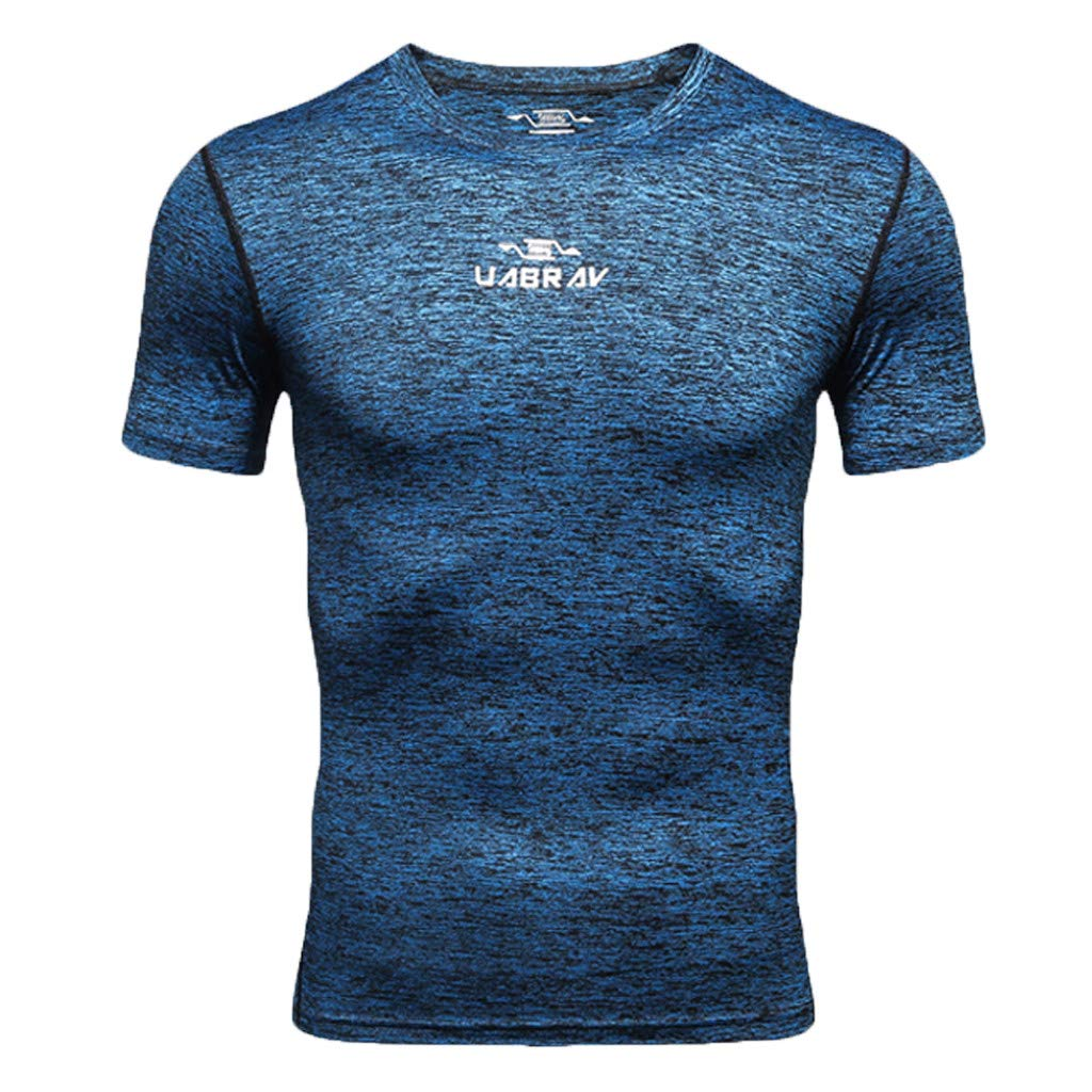Allywit-Mens New Fitness Training Clothes Short Sleeve Blouse Outdoor Sports Muscle Blouse Top Navy
