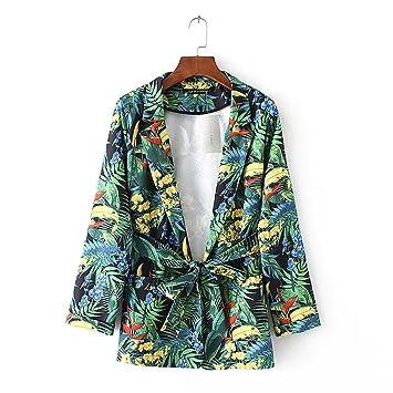 HUAN Abrigos de Las Mujeres 2018 Primavera Verano Imprimir Blazer, señoras Mujeres Señora Casual Cardigan Escudo (Color : 1, tamaño : L): Amazon.es: Jardín