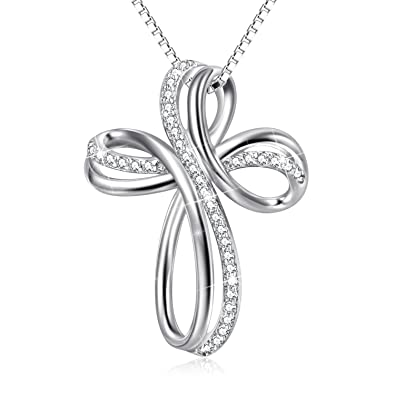 029466067d26 Collar de cruz de plata de ley con colgante de cruz infinito para ...