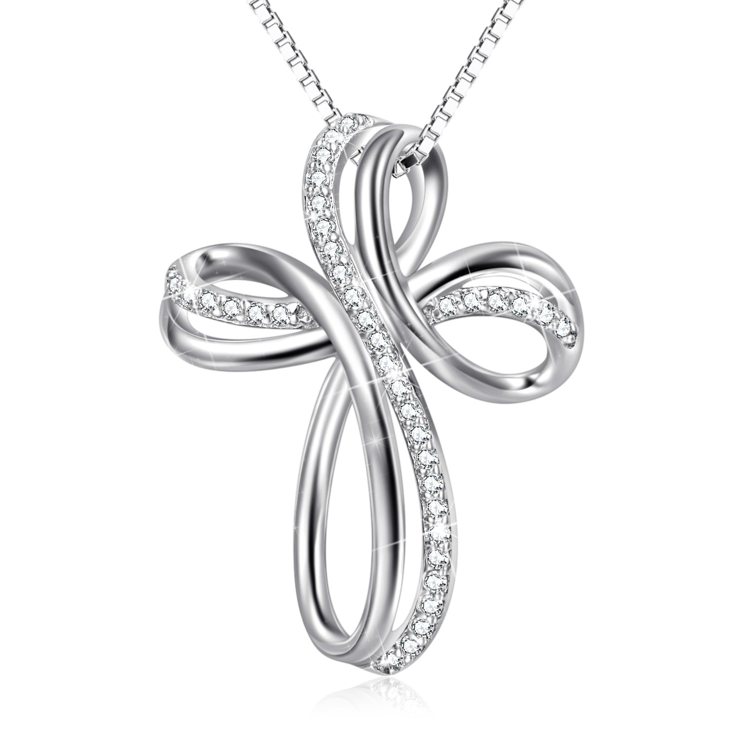 POPLYKE Cross Necklace Sterling Silver Infinity Loop Cross Pendant Necklace for Women Girls Boys