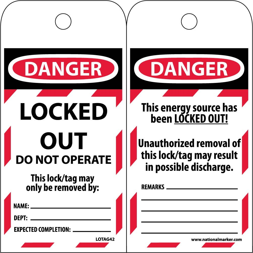 LOTAG42ST250 Polytag National Marker Tags, Lockout, Danger, LOCKED Out Do Not Operate, 6 Inches x 3 Inches, Polytag, Box of 250