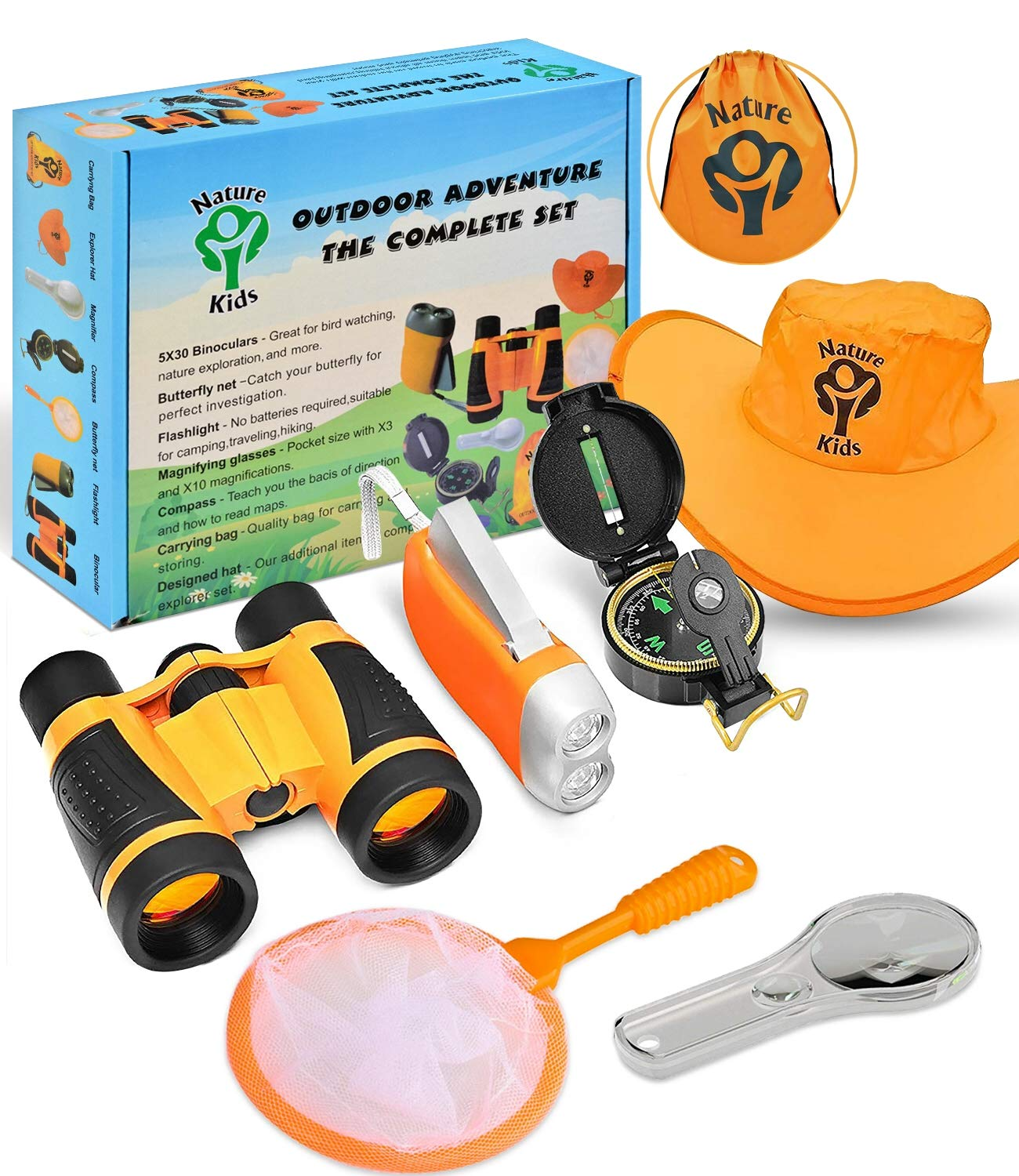 Adventure Kids - Outdoor Explorer Kit, Children Binoculars, Flashlight, Compass, Magnifying Glass, Butterfly Net & Backpack. Great Toys Kids Gift for Boys & Girls Age 3-12 Year Old Camping Educational by 1ELEGANT