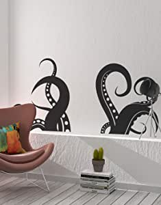 "Giant Octopus Tentacles Wall Decal Sticker - Black, 27"" x 60"". Great for Living Room, Bathroom or Bedroom Decor. #OS_MB316"